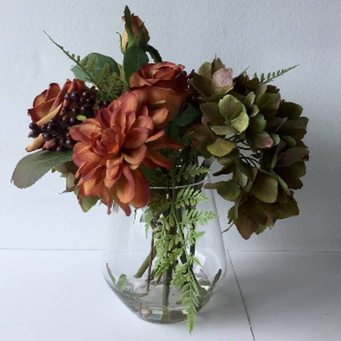Autumnal Arrangement In Glass Vase - Cosy Home Interiors