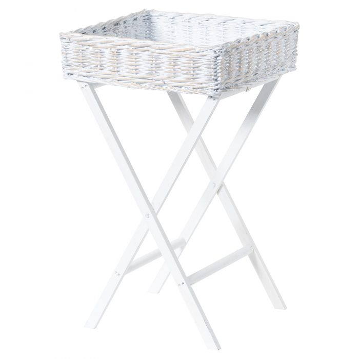Large White Wash Wicker Basket Butler Tray - Cosy Home Interiors