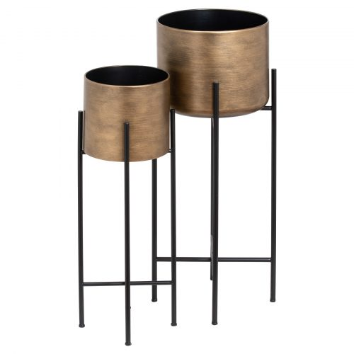 Set Of Two Bronze Planters On Stand - Cosy Home Interiors
