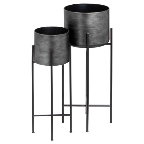 Set Of Two Grey Metallic Planters On Stand - Cosy Home Interiors