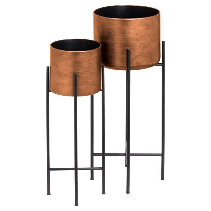 Set Of Two Copper Planters On Stand - Cosy Home Interiors