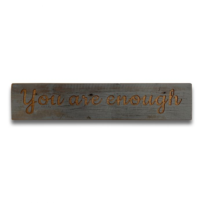 Enough Grey Wash Wooden Message Plaque - Cosy Home Interiors