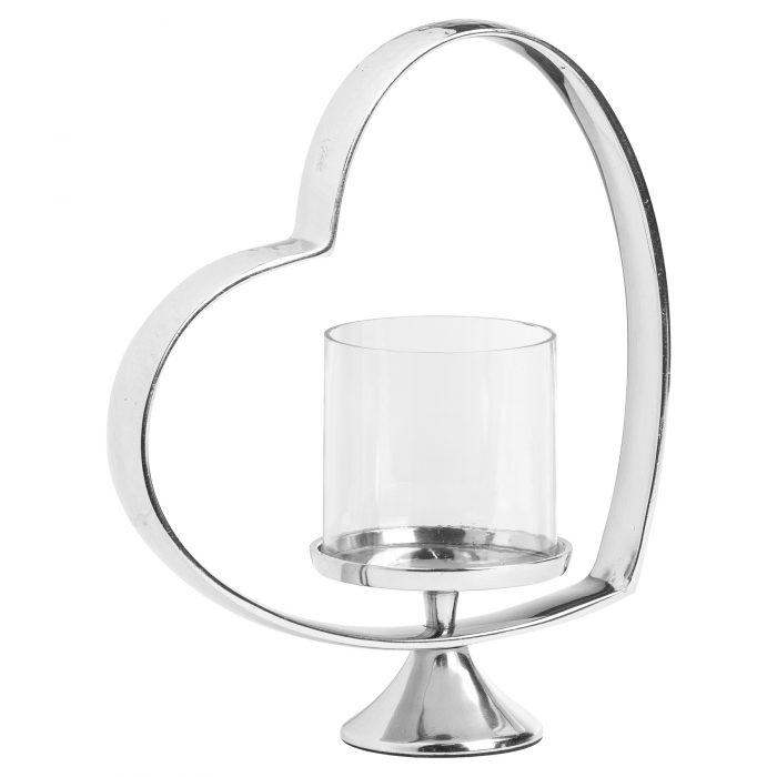Heart Shaped Nickel Plated Candle Holder - Cosy Home Interiors
