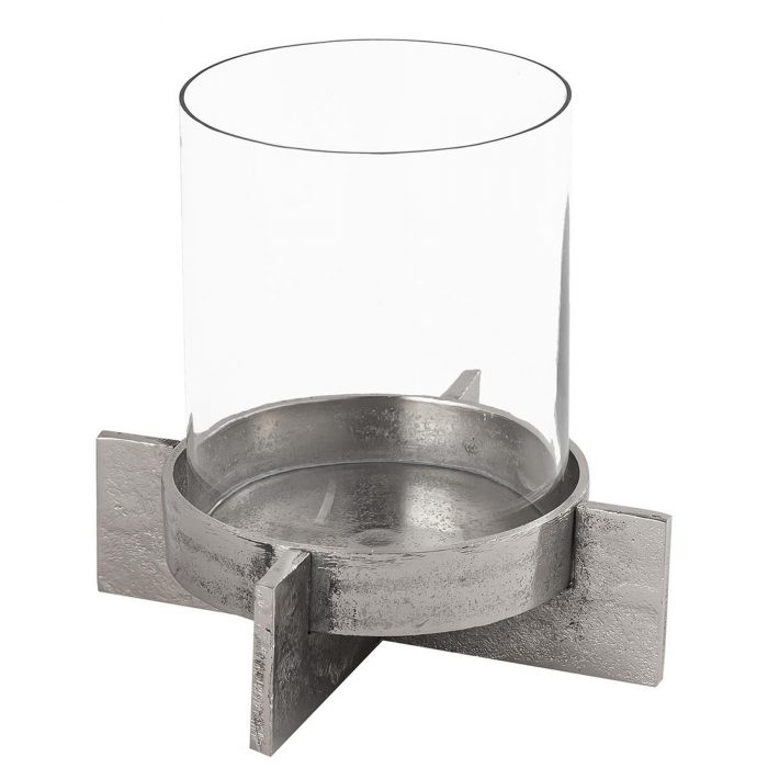 Farrah Collection Silver Large Candle Holder - Cosy Home Interiors