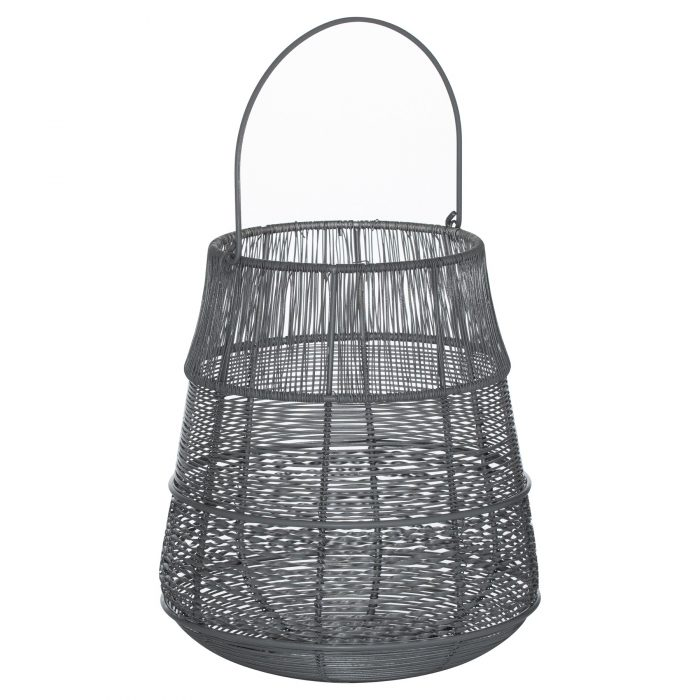 Medium Wire Silver And Grey Glowray Conical Lantern - Cosy Home Interiors