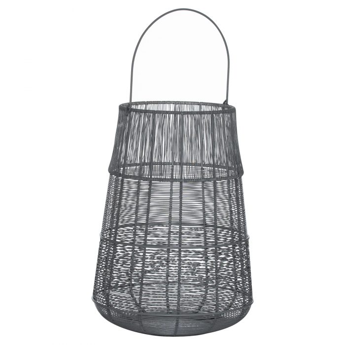Large Wire Silver And Grey Glowray Conical Lantern - Cosy Home Interiors