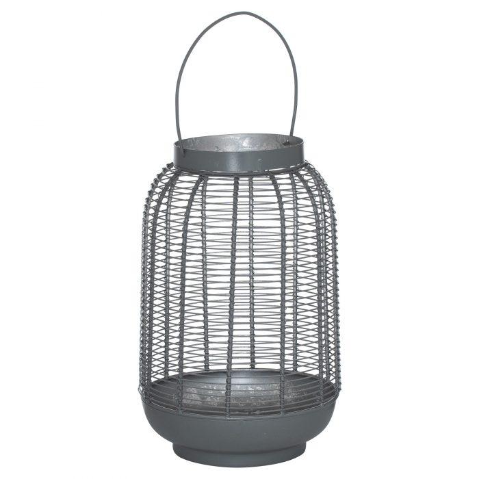 Medium Silver And Grey Glowray Wire Lantern - Cosy Home Interiors