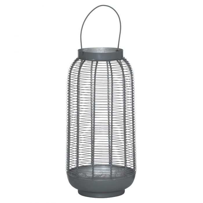 Large Silver And Grey Glowray Wire Lantern - Cosy Home Interiors