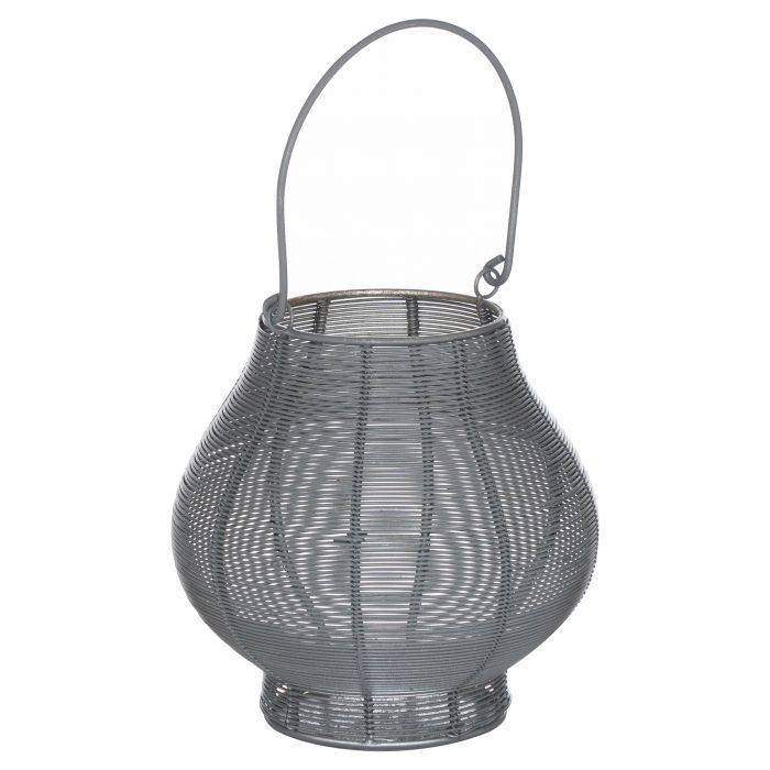 Medium Glowray Silver And Grey Bulbous Wire Lantern - Cosy Home Interiors