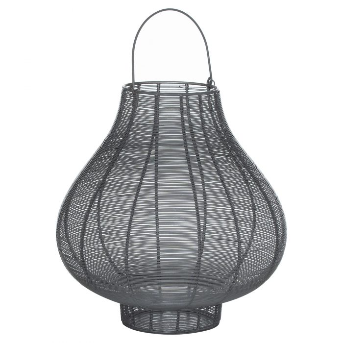 Large Glowray Silver And Grey Bulbous Wire Lantern - Cosy Home Interiors
