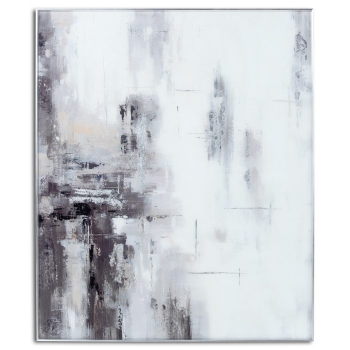Hand Painted Black And White Soft Abstract Painting - Cosy Home Interiors