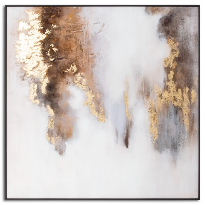 Metallic Soft Abstract Glass Image In Gold Frame - Cosy Home Interiors