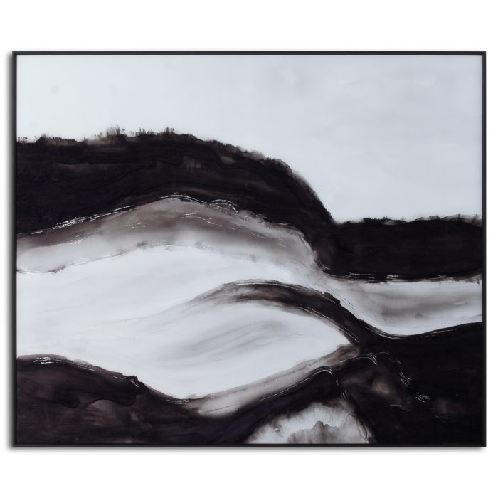 Black and White Rolling Hills Glass Image in Black Frame - Cosy Home Interiors