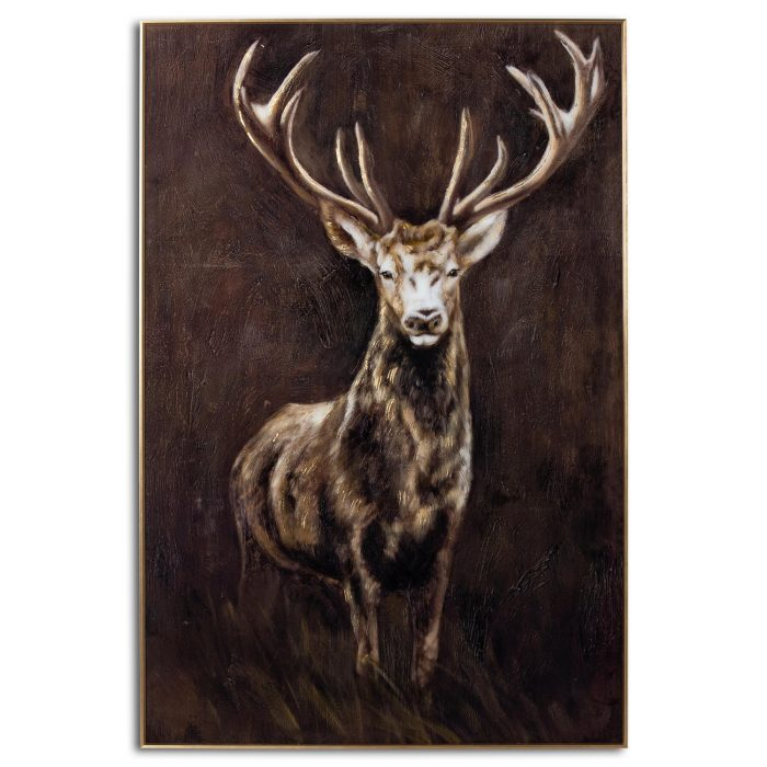 Royal Stag Glass Image In Gold Frame - Cosy Home Interiors