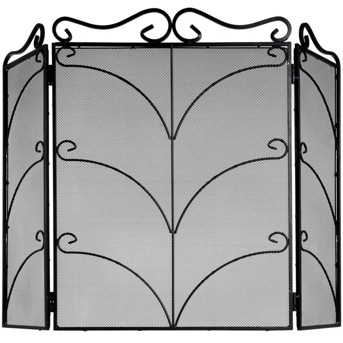Heavy Large Black Ornate Fire Screen - Cosy Home Interiors