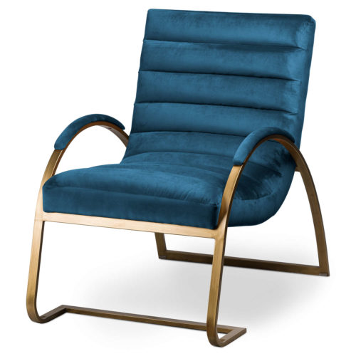 Navy And Brass Ribbed Ark Chair - Cosy Home Interiors