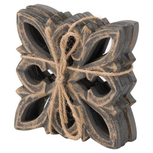 Ivy Set Of 4 Grey Wash Coasters - Cosy Home Interiors