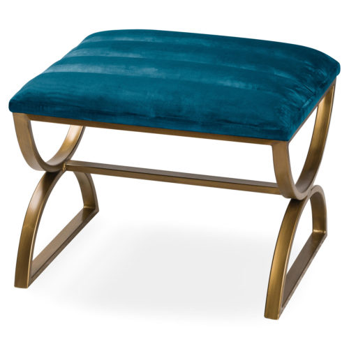 Navy And Brass Ribbed Footstool - Cosy Home Interiors