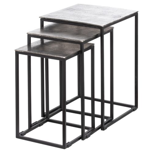 Farrah Collection Silver Nest Of Three Tables - Cosy Home Interiors