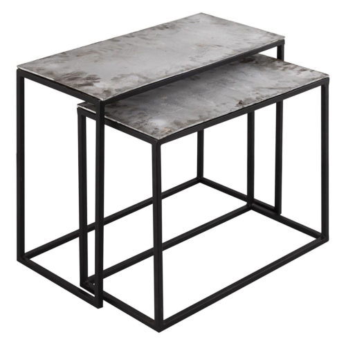 Farrah Collection Silver Set of Two Side Tables - Cosy Home Interiors